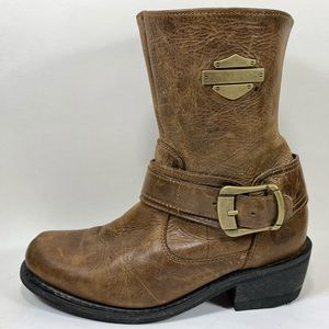 Harley-Davidson Leather Moto Boots Womens 9